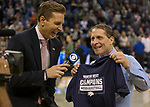 Nevada's head coach Eric Musselman, right, is interviewed for television after winning against Colorado State in an NCAA college basketball game in Reno, Nev., Sunday, Feb. 25, 2018. (AP Photo/Tom R. Smedes)