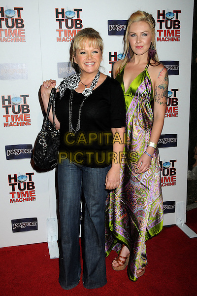 "CHARLENE TILTON & CHERISH LEE.""Hot Time Time Machine"" World Premiere Party held at the Cabana Club, Hollywood, California, USA..March 17th, 2010.full length black top silver grey gray necklace jeans denim maxi skirt pink purple green paisley dress silk satin mother mom mum daughter tattoo bag purse .CAP/ADM/BP.©Byron Purvis/AdMedia/Capital Pictures."