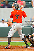 Left fielder Michael Flacco #31 of the Frederick Keys at bat against the Winston-Salem Dash at BB&T Ballpark on August 5, 2011 in Winston-Salem, North Carolina.  The Dash defeated the Keys 10-0.   Brian Westerholt / Four Seam Images