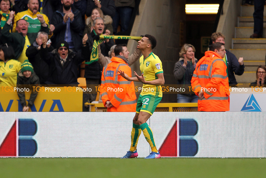 Jacob Murphy of Norwich City celebrates his goal and getting Norwich back level during Norwich City vs Ipswich Town, Sky Bet EFL Championship Football at Carrow Road on 26th February 2017