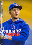 1 April 2016: Toronto Blue Jays infielder Troy Tulowitzki awaits his turn in the batting cage prior to a pre-season exhibition game against the Boston Red Sox at Olympic Stadium in Montreal, Quebec, Canada. The Red Sox defeated the Blue Jays 4-2 in the first of two MLB weekend exhibition games, which saw an attendance of 52,682 at the former home on the Montreal Expos. Mandatory Credit: Ed Wolfstein Photo *** RAW (NEF) Image File Available ***