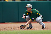 Baylor Bears third baseman Cal Towey #18 on defense during the NCAA Regional baseball game against Oral Roberts University on June 3, 2012 at Baylor Ball Park in Waco, Texas. Baylor defeated Oral Roberts 5-2. (Andrew Woolley/Four Seam Images)