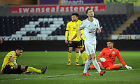 Pictured: Ryan Hedges of Swansea after missing the opportunity to score Monday 25 April 2016<br />Re: Play Off semi final, Swansea City AFC U21 v Aston Villa FC U21 at the Liberty Stadium, Swansea, UK