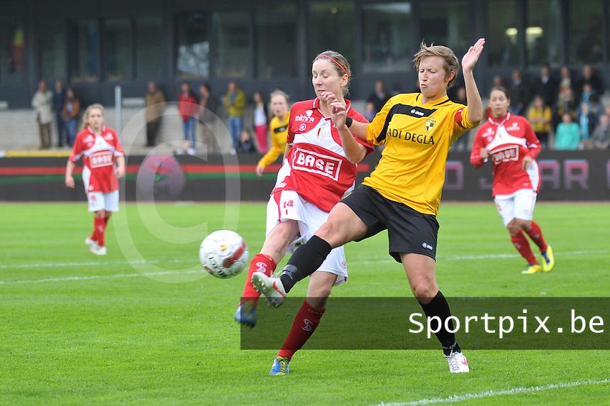 Bekerfinale 2012 : WD Lierse SK - Standard Femina :.duel tussen Niki De Cock en Berit Stevens.foto David Catry / Joke Vuylsteke / Vrouwenteam.be