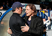 Fleetwood Town's manager Joey Barton is greeted by  Wycombe Wanderers' manager Gareth Ainsworth <br /> <br /> Photographer Andrew Kearns/CameraSport<br /> <br /> The EFL Sky Bet League One - Wycombe Wanderers v Fleetwood Town - Saturday 4th May 2019 - Adams Park - Wycombe<br /> <br /> World Copyright © 2019 CameraSport. All rights reserved. 43 Linden Ave. Countesthorpe. Leicester. England. LE8 5PG - Tel: +44 (0) 116 277 4147 - admin@camerasport.com - www.camerasport.com