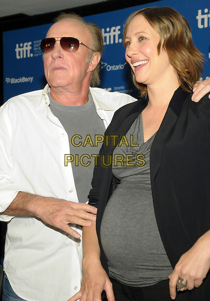 "JAMES CAAN & VERA FARMIGA .""Henry's Crime"" Press Conference during the 2010 Toronto International Film Festival held at the Hyatt Regency, Toronto, Ontario, Canada, .14th September 2010..half length white shirt grey gray pregnant black jacket top sunglasses  smiling  .CAP/ADM/BPC.©Brent Perniac/AdMedia/Capital Pictures."