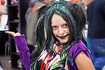 27 MAY 2011 - PHOENIX, AZ: ALLISON BANDEL as Circa Napier, her own creation, which she said was the Joker's daughter from the Batman series, at Phoenix Comicon Friday. Phoenix Comicon opened Thursday and featured a Zombie Walk through downtown Phoenix Friday night. Hundreds of people participated in the Zombie Walk, both as Zombies and as Zombie hunters. This year's Comicon includes appearances by Leonard Nimoy (Star Trek), Adam Baldwin (Firefly and Chuck), Stan Lee (Marvel Comics), Nicholas Brendon (Buffy the Vampire Slayer) and others. Activities include costuming workshops, role playing games and a Geek Prom.     Photo by Jack Kurtz