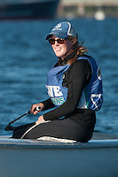 Salve's Jen Killian,'17, captain, practices in the Newport Harbor with other members of the Salve Regina Sailing Team.