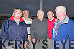NIGHT OUT: A night at the dogs for Joe Scanlon(Listowel) on Friday evening as his 80th birthday approaches on Sunday 24th July, with his friends at the Kingdom Greyhound Stadium, Tralee, L-r: Maurice and Denis Boyle (Tralee), Joe Scanlon (Listowel), Mike Shine (Listowel) and Paddy Purtil (Lisstelton)...