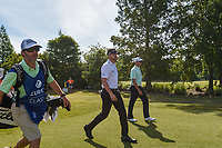 Jimmy Walker (USA) and Sean O'Hair (USA) head down 1 during Round 3 of the Zurich Classic of New Orl, TPC Louisiana, Avondale, Louisiana, USA. 4/28/2018.<br /> Picture: Golffile | Ken Murray<br /> <br /> <br /> All photo usage must carry mandatory copyright credit (&copy; Golffile | Ken Murray)