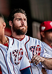 1 August 2018: Washington Nationals infielder Daniel Murphy looks out from the dugout prior to facing the New York Mets at Nationals Park in Washington, DC. The Nationals defeated the Mets 5-3 to sweep the 2-game weekday series. Mandatory Credit: Ed Wolfstein Photo *** RAW (NEF) Image File Available ***