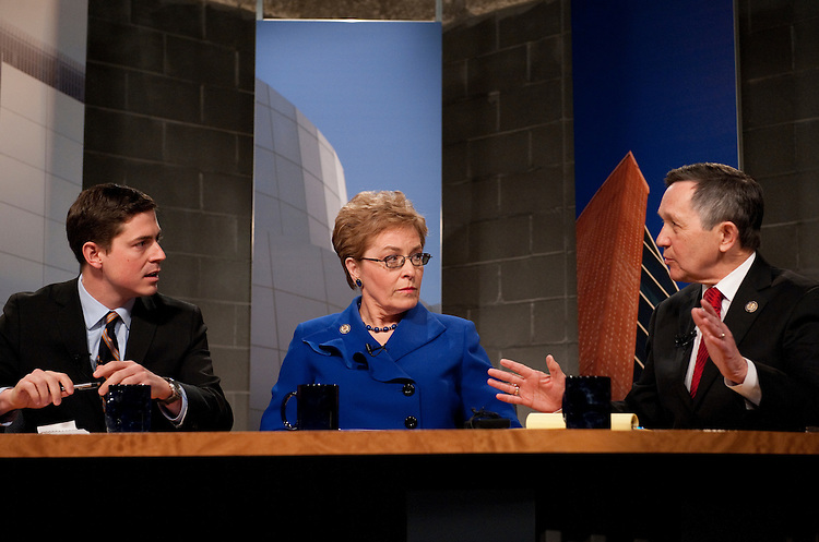 UNITED STATES - FEBRUARY 13:  From left, candidate Graham Veysey, Rep. Marcy Kaptur, D-Ohio, and Rep. Dennis Kucinich, D-Ohio, participate in a candidate debate hosted by Time Warner Cable and moderated by Bob Conklin in Cleveland, Ohio.  Democrats Kaptur, Kucinich and Veysey are running for the OH-09 seat after the state lost two seats due to reapportionment.  (Photo By Tom Williams/CQ Roll Call)