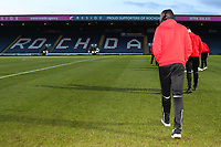 Toumani Diagouraga of Fleetwood checks the pitch before the Sky Bet League 1 match between Rochdale and Fleetwood Town at Spotland Stadium, Rochdale, England on 20 March 2018. Photo by Thomas Gadd.