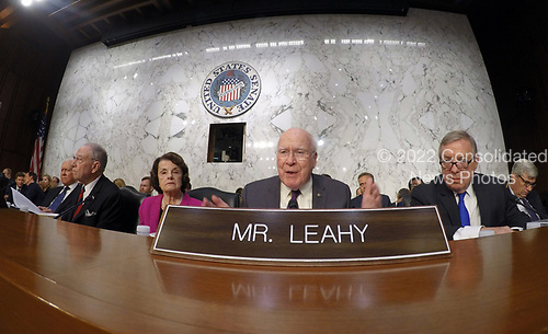United States Senator Patrick Leahy, center, joins in the debate about suspending the hearing on Judge Brett Kavanaugh's nomination before the United States Senate Judiciary Committee as Associate Justice of the US Supreme Court to replace the retiring Justice Anthony Kennedy on Capitol Hill in Washington, DC on Tuesday, September 4, 2018.  Pictured from left to right: US Senators Orrin Hatch (Republican of Utah); US Senator Chuck Grassley (Republican of Iowa), chairman; US Senator Dianne Feinstein (Democrat of California), ranking member; Senator Leahy; US Senator Dick Durbin (Democrat of Illinois); and US Senator Sheldon Whitehouse (Democrat of Rhode Island).<br /> Credit: Ron Sachs / CNP<br /> (RESTRICTION: NO New York or New Jersey Newspapers or newspapers within a 75 mile radius of New York City)