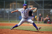 New York University Violets relief pitcher Cameron Serapilio-Frank (17) delivers a pitch during a game against the Edgewood Eagles on March 14, 2017 at Terry Park in Fort Myers, Florida.  NYU defeated Edgewood 12-7.  (Mike Janes/Four Seam Images)