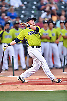 Dash Winningham of the Columbia Fireflies swings at at a pitch during the home run derby as part of the All Star Game festivities at Spirit Communications Park on June 19, 2017 in Columbia, South Carolina. The Soldiers defeated the Celebrities 1-0. (Tony Farlow/Four Seam Images)