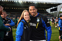 Emma Hill and Anthony Perenise of Bath Rugby pose for a photo after the match. Gallagher Premiership match, between Leicester Tigers and Bath Rugby on May 18, 2019 at Welford Road in Leicester, England. Photo by: Patrick Khachfe / Onside Images
