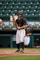 Bradenton Marauders Daniel Amaral (43) at bat during a Florida State League game against the Palm Beach Cardinals on May 10, 2019 at LECOM Park in Bradenton, Florida.  Bradenton defeated Palm Beach 5-1.  (Mike Janes/Four Seam Images)