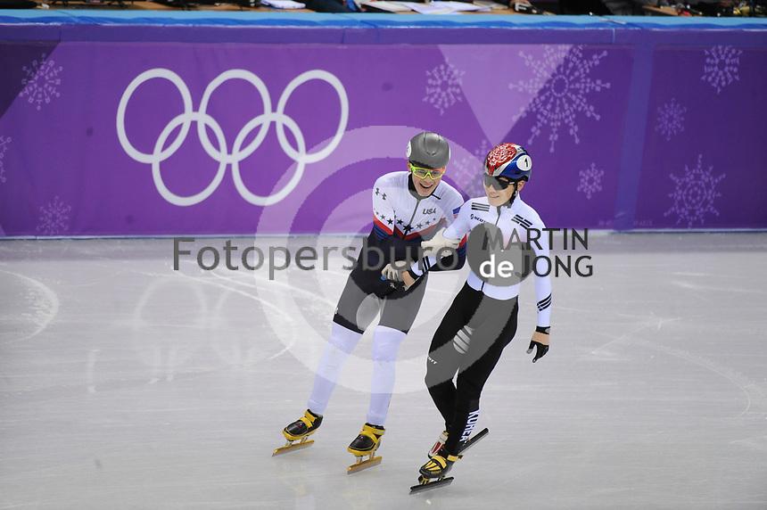 OLYMPIC GAMES: PYEONGCHANG: 17-02-2018, Gangneung Ice Arena, Short Track, 1000m Men, John-Henry Krueger (USA), Seo Yi Ra (KOR),  ©photo Martin de Jong