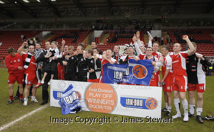 24/05/2009  Copyright  Pic : James Stewart.sct_jspa_06_airdrie_v-Ayr.AYR UTD PLAYERS CELEBRATE THEIR PROMOTION TO THE FIRST DIVISION.James Stewart Photography 19 Carronlea Drive, Falkirk. FK2 8DN      Vat Reg No. 607 6932 25.Telephone      : +44 (0)1324 570291 .Mobile              : +44 (0)7721 416997.E-mail  :  jim@jspa.co.uk.If you require further information then contact Jim Stewart on any of the numbers above.........