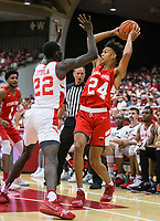 NWA Democrat-Gazette/BEN GOFF @NWABENGOFF<br /> Ethan Henderson (24), Arkansas forward, passes the ball in the frist half Saturday, Oct. 5, 2019, during the annual Arkansas Red-White Game at Barnhill Arena in Fayetteville.