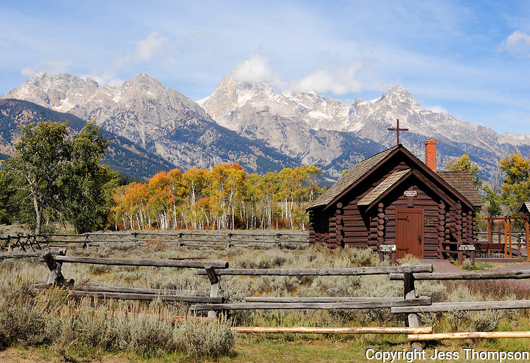 Grand Tetons with Chapel, Jackson, WY