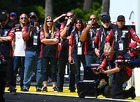 Mar 20, 2016; Gainesville, FL, USA; Crew members for NHRA pro stock motorcycle rider Andrew Hines during the Gatornationals at Auto Plus Raceway at Gainesville. Mandatory Credit: Mark J. Rebilas-USA TODAY Sports