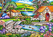Interlitho-Theresa, LANDSCAPES, LANDSCHAFTEN, PAISAJES, paintings+++++,river,lake, houses,KL4504,#l# ,puzzles