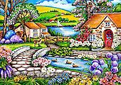 Interlitho-Theresa, LANDSCAPES, LANDSCHAFTEN, PAISAJES, paintings+++++,river,lake, houses,KL4504,#l# ,puzzles