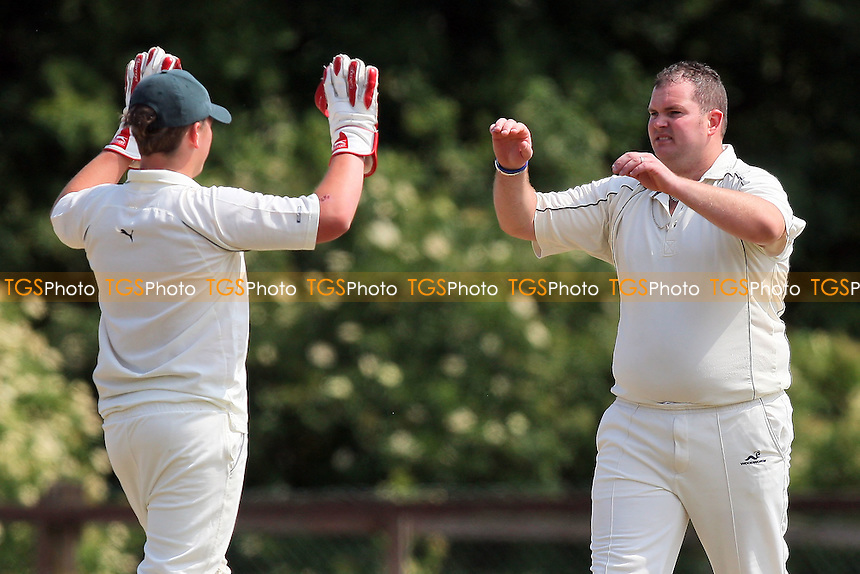 K Stanbridge of Havering celebrates the wicket of C Pastfield - Havering-atte-Bower CC 2nd XI (fielding) vs Hockley CC 2nd XI - Essex Cricket League - 04/06/11 - MANDATORY CREDIT: Gavin Ellis/TGSPHOTO - Self billing applies where appropriate - Tel: 0845 094 6026