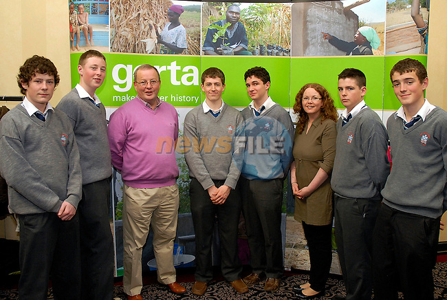 102  Transition year students from St. Josephs CBS Drogheda who told delegates at the Gorta Making Hunger History: Local Heroes in faraway places seminar about their India immersion project (from left) Sean Doherty, Jack Reilly, Mr. John Mansfield (Deputy Principal), Conor Victory, Caoimhin Seery, Aisling Flood (School Chaplain), Peter Durnin, Adam Fallon. Absent from photo is Carl Smith.