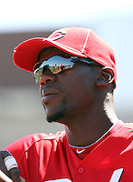 Brandon Phillips #4 of the Cincinnati Reds.Photo by:  Bill Mitchell/Four Seam Images.