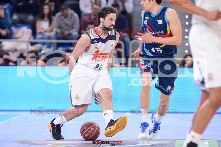 Real Madrid's Sergio Llull and Morabanc Andorra's David Navarro during Quarter Finals match of 2017 King's Cup at Fernando Buesa Arena in Vitoria, Spain. February 16, 2017. (ALTERPHOTOS/BorjaB.Hojas) /Nortephoto.com