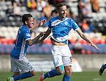 Partick Thistle v St Johnstone…10.09.16..  Firhill  SPFL<br />Steven MacLean celebrates his goal with Danny Swanson<br />Picture by Graeme Hart.<br />Copyright Perthshire Picture Agency<br />Tel: 01738 623350  Mobile: 07990 594431
