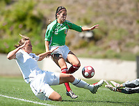 Abby Wambach tries to slip the ball past Mexico's Leticia Villalpando (2) for a goal. .USA 3-0 over Mexico in San Diego, California, Sunday, March 28, 2010.