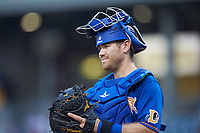 Durham Bulls catcher Mac James (28) on defense against the Charlotte Knights at BB&T BallPark on July 31, 2019 in Charlotte, North Carolina. The Knights defeated the Bulls 9-6. (Brian Westerholt/Four Seam Images)