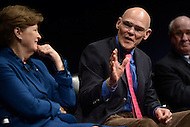 Washington, DC - February 11, 2015: Political strategist James Carville (c) participates in a panel discussion on the history and importance of the New Hampshire primary held at the Newseum in the District of Columbia, February 11, 2015. (L-R) Sen. Jeanne Shaheen, Tom Rath.  (Photo by Don Baxter/Media Images International)