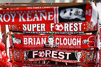 Nottingham Forest scarves for sale by a street vendor during the Sky Bet Championship match between Nottingham Forest and Swansea City at City Ground, Nottingham, England, UK. Saturday 30 March 2019