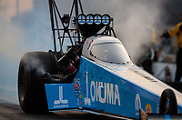 May 31, 2019; Joliet, IL, USA; NHRA top fuel driver Leah Pritchett during qualifying for the Route 66 Nationals at Route 66 Raceway. Mandatory Credit: Mark J. Rebilas-USA TODAY Sports