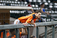 AZL Giants third baseman Jacob Gonzalez (52) watches the action from the dugout during a game against the AZL Cubs on September 6, 2017 at Sloan Park in Mesa, Arizona. AZL Giants defeated the AZL Cubs 6-5 to even up the Arizona League Championship Series at one game a piece. (Zachary Lucy/Four Seam Images)