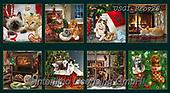 GIORDANO, GIFT WRAPS, GESCHENKPAPIER, PAPEL DE REGALO, Christmas Santa, Snowman, Weihnachtsmänner, Schneemänner, Papá Noel, muñecos de nieve, paintings+++++Giordano Fireside Kittens Block,USGIPROV23,#gp#,#x# ,dog,dogs