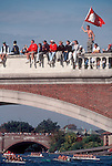 Rowing, Spectators, Head of the Charles Regatta, Weeks Bridge, Charles River, Cambridge, Massachusetts, New England, USA,.