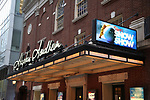 """Theatre Marquee during a Sneak Peek of """"Slava's Snowshow"""" at The Stephen Sondheim Theatre on November 12, 2019 in New York City."""