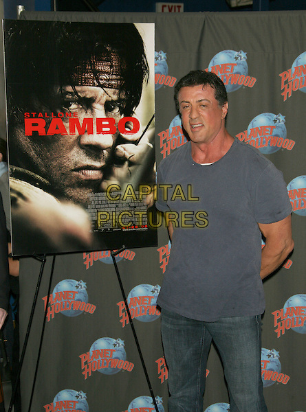 "SYLVESTER STALLONE.Movie memorabilia donation event to promote the 4th installment of ""Rambo"" at Planet Hollywood Times Square, New York, NY, USA..January 17th, 2008.half length grey gray tee shirt .TOM/CAP/LNC.©TOM/LNC/Capital Pictures"