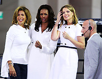 October 11, 2018  Hoda Kotb, Savannah Guthrie, Michelle Obama at Today Show announces the Obama Foundation's Global Girls Alliance to Support Adolescent Girls Education Around the World on International Day of the Girl   at Rockefeller Center Plaza in New York October 11, 2018 Credit:RW/MediaPunch