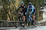 David De La Cruz (ESP) Team Sky and Marc Soler (ESP) Movistar Team attack during a wet miserable Stage 8 of the 2018 Paris-Nice running 110km from Nice to Nice, France. 11th March 2018.<br /> Picture: ASO/Alex Broadway | Cyclefile<br /> <br /> <br /> All photos usage must carry mandatory copyright credit (&copy; Cyclefile | ASO/Alex Broadway)