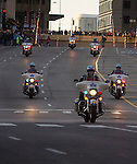 Police motorcycles make their way down the race route before the start of the 2013 Chicago Marathon Sunday, Oct. 13, 2013.  (Photo by Jamie Moncrief)