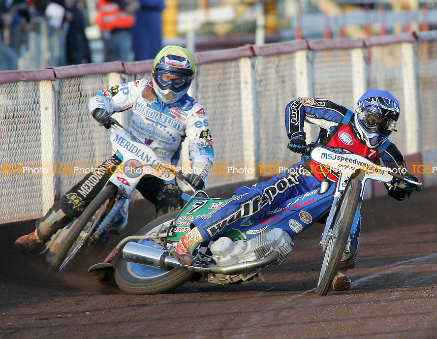 Heat 2 - Simota (yellow), Tomicek (blue) - Lakeside Hammers vs Reading Bulldogs - Elite League Speedway at Arena Essex - 20/06/07 - MANDATORY CREDIT: Gavin Ellis/TGSPHOTO - SELF-BILLING APPLIES WHERE APPROPRIATE. NO UNPAID USE -  Tel: 0845 0946026