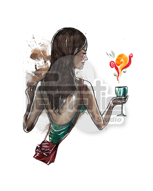 Illustrative image of woman holding wineglass representing party