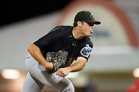 West Virginia Black Bears relief pitcher Cam Alldred (46) delivers a pitch during a game against the Batavia Muckdogs on July 3, 2018 at Dwyer Stadium in Batavia, New York.  Batavia defeated West Virginia 5-4.  (Mike Janes/Four Seam Images)